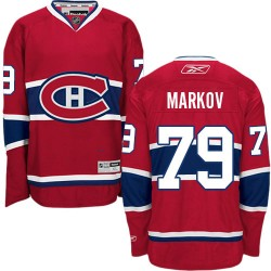 Youth Montreal Canadiens Andrei Markov Reebok Red Authentic Home NHL Jersey