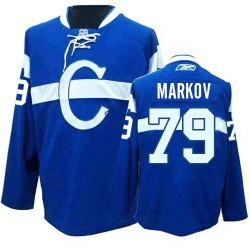 Youth Montreal Canadiens Andrei Markov Reebok Blue Authentic Third NHL Jersey