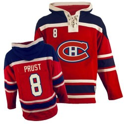Adult Montreal Canadiens Brandon Prust Old Time Hockey Red Authentic Sawyer Hooded Sweatshirt NHL Jersey