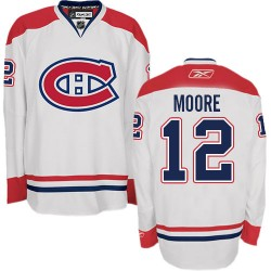 Adult Montreal Canadiens Dickie Moore Reebok White Authentic Away NHL Jersey