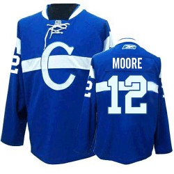 Adult Montreal Canadiens Dickie Moore Reebok Blue Authentic Third NHL Jersey