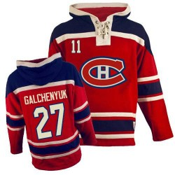 Adult Montreal Canadiens Alex Galchenyuk Old Time Hockey Red Authentic Sawyer Hooded Sweatshirt NHL Jersey
