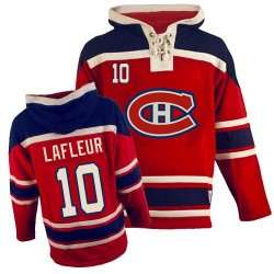 Adult Montreal Canadiens Guy Lafleur Old Time Hockey Red Authentic Sawyer Hooded Sweatshirt NHL Jersey