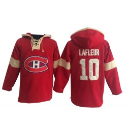 Adult Montreal Canadiens Guy Lafleur Old Time Hockey Red Premier Pullover Hoodie NHL Jersey