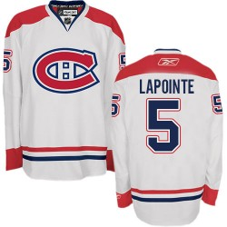 Adult Montreal Canadiens Guy Lapointe Reebok White Premier Away NHL Jersey