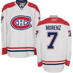 Adult Montreal Canadiens Howie Morenz Reebok White Authentic Away NHL Jersey