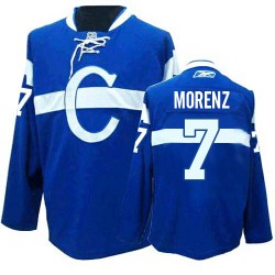 Adult Montreal Canadiens Howie Morenz Reebok Blue Premier Third NHL Jersey