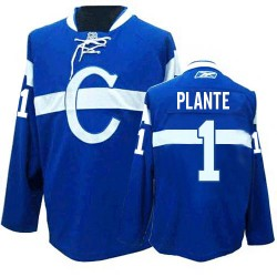 Adult Montreal Canadiens Jacques Plante Reebok Blue Premier Third NHL Jersey
