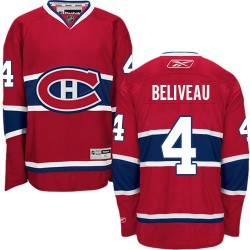 Adult Montreal Canadiens Jean Beliveau Reebok Red Authentic Home NHL Jersey