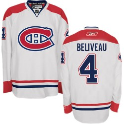 Adult Montreal Canadiens Jean Beliveau Reebok White Authentic Away NHL Jersey