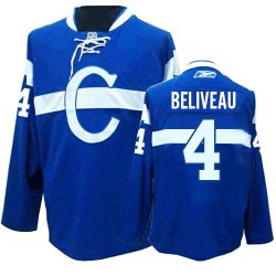 Adult Montreal Canadiens Jean Beliveau Reebok Blue Premier Third NHL Jersey