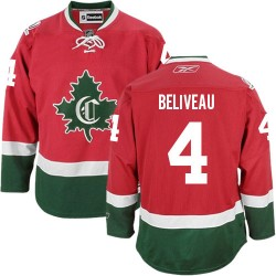 Adult Montreal Canadiens Jean Beliveau Reebok Red Premier New CD Third NHL Jersey