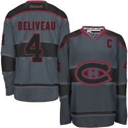 Adult Montreal Canadiens Jean Beliveau Reebok Premier Charcoal Cross Check Fashion NHL Jersey
