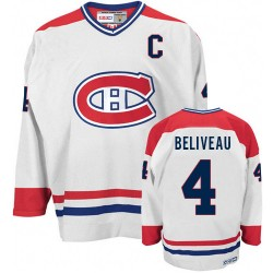 Adult Montreal Canadiens Jean Beliveau CCM White Authentic CH Throwback NHL Jersey