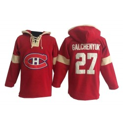 Adult Montreal Canadiens Alex Galchenyuk Old Time Hockey Red Premier Pullover Hoodie NHL Jersey