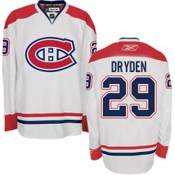 Adult Montreal Canadiens Ken Dryden Reebok White Authentic Away NHL Jersey