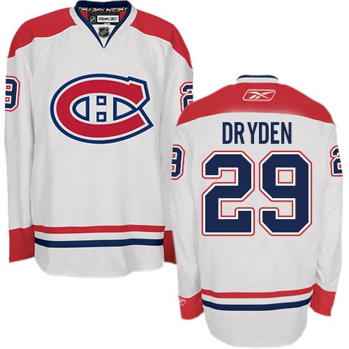 Adult Montreal Canadiens Ken Dryden Reebok White Premier Away NHL Jersey