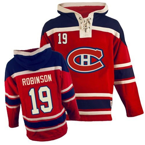 Adult Montreal Canadiens Larry Robinson Old Time Hockey Red Authentic Sawyer Hooded Sweatshirt NHL Jersey