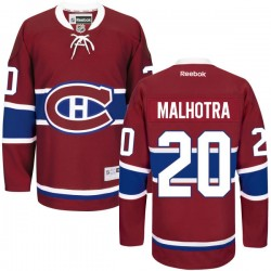 Adult Montreal Canadiens Manny Malhotra Reebok Red Authentic Home NHL Jersey