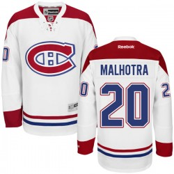 Adult Montreal Canadiens Manny Malhotra Reebok White Authentic Away NHL Jersey