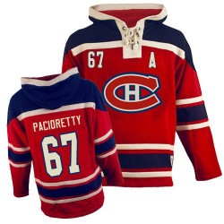 Adult Montreal Canadiens Max Pacioretty Old Time Hockey Red Authentic Sawyer Hooded Sweatshirt NHL Jersey