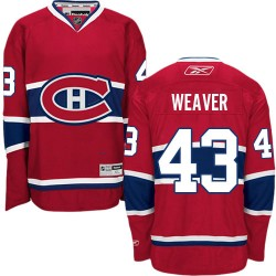 Adult Montreal Canadiens Mike Weaver Reebok Red Authentic Home NHL Jersey