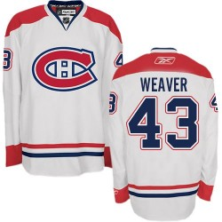 Adult Montreal Canadiens Mike Weaver Reebok White Authentic Away NHL Jersey