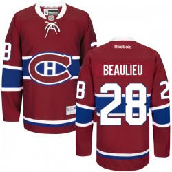 Adult Montreal Canadiens Nathan Beaulieu Reebok Red Authentic Home NHL Jersey