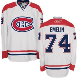 Adult Montreal Canadiens Alexei Emelin Reebok White Authentic Away NHL Jersey