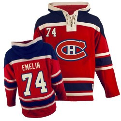 Adult Montreal Canadiens Alexei Emelin Old Time Hockey Red Authentic Sawyer Hooded Sweatshirt NHL Jersey
