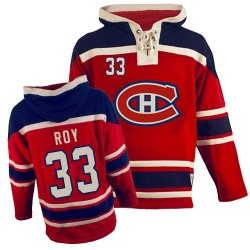 Adult Montreal Canadiens Patrick Roy Old Time Hockey Red Authentic Sawyer Hooded Sweatshirt NHL Jersey