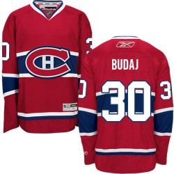 Adult Montreal Canadiens Peter Budaj Reebok Red Premier Home NHL Jersey