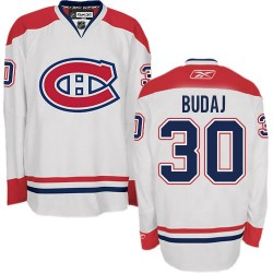 Adult Montreal Canadiens Peter Budaj Reebok White Premier Away NHL Jersey