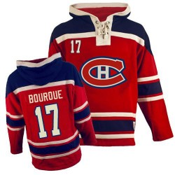Adult Montreal Canadiens Rene Bourque Old Time Hockey Red Authentic Sawyer Hooded Sweatshirt NHL Jersey