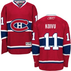 Adult Montreal Canadiens Saku Koivu Reebok Red Authentic Home NHL Jersey