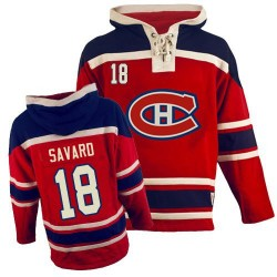 Adult Montreal Canadiens Serge Savard Old Time Hockey Red Premier Sawyer Hooded Sweatshirt NHL Jersey