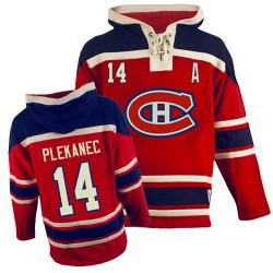 Adult Montreal Canadiens Tomas Plekanec Old Time Hockey Red Authentic Sawyer Hooded Sweatshirt NHL Jersey