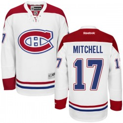Adult Montreal Canadiens Torrey Mitchell Reebok White Authentic Away NHL Jersey