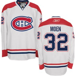Adult Montreal Canadiens Travis Moen Reebok White Authentic Away NHL Jersey